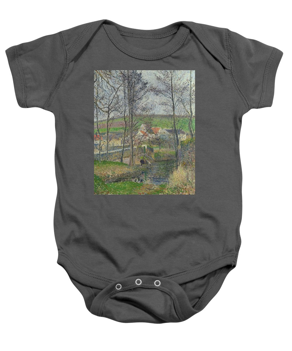 Camille Pissarro Baby Onesie featuring the painting The Banks Of The Viosne At Osny In Grey Weather, Winter by Camille Pissarro