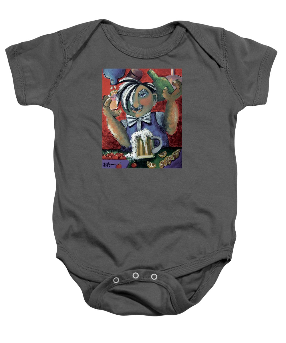 Bartender Baby Onesie featuring the painting The Bartender by Elizabeth Lisy Figueroa