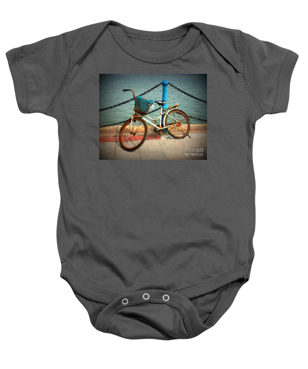 Stories Baby Onesie featuring the photograph The Bicycle by Carol Groenen