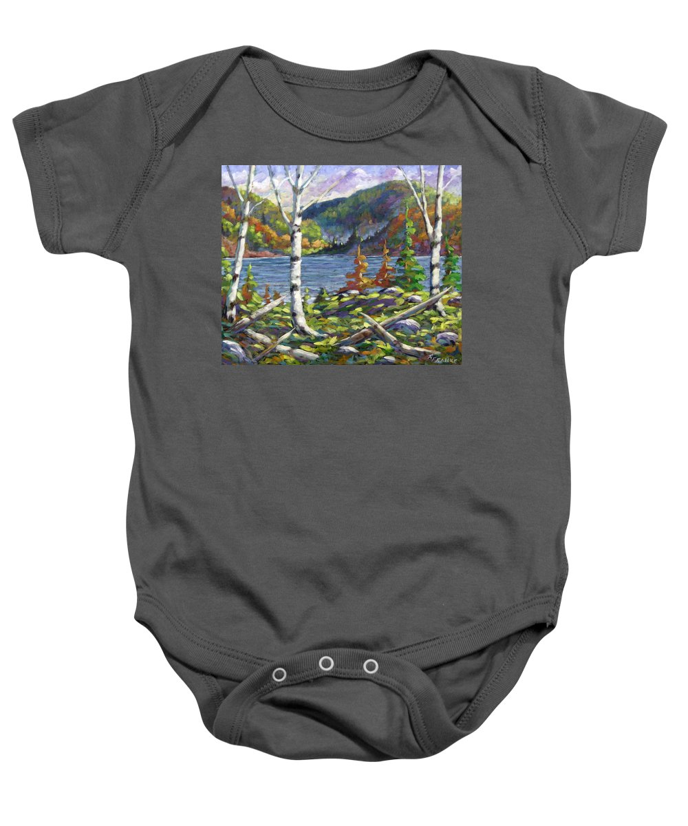 Art Baby Onesie featuring the painting The Birches by Richard T Pranke