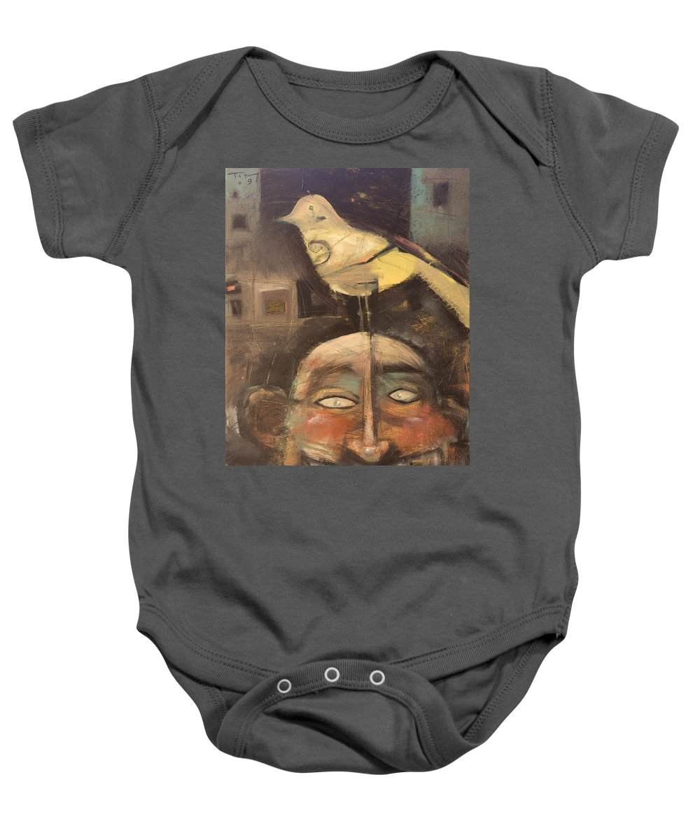 Bird Baby Onesie featuring the painting The Birdman Of Alcatraz by Tim Nyberg