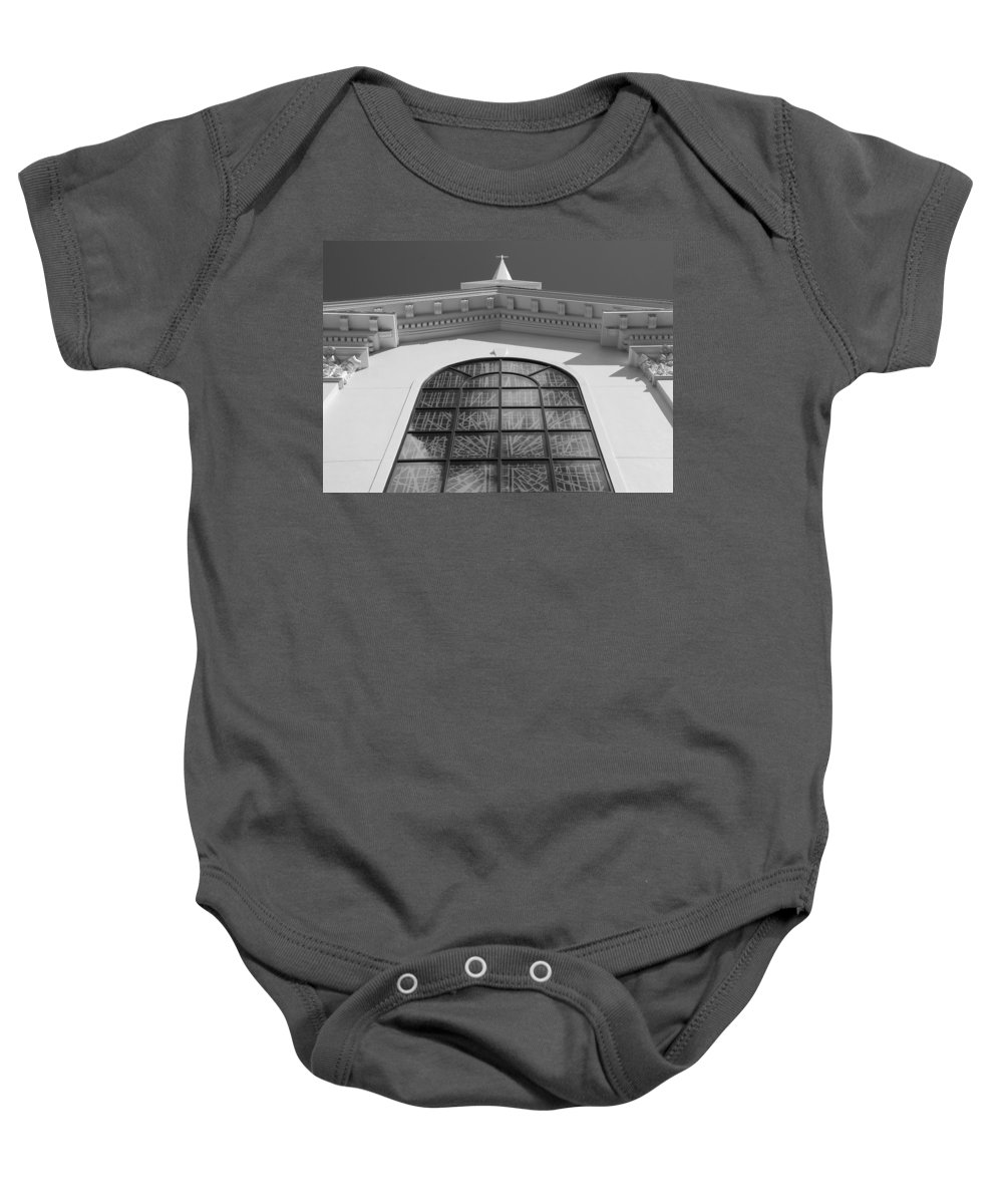Church Baby Onesie featuring the photograph The Black And White Church by Rob Hans