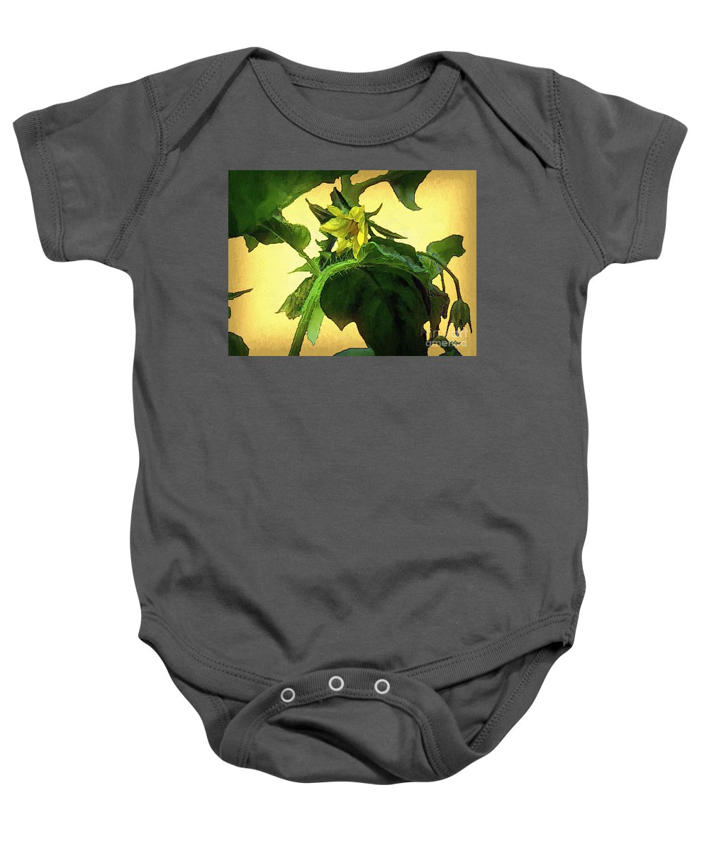 Flower Baby Onesie featuring the painting The Blossom To Become A Fruit by RC DeWinter