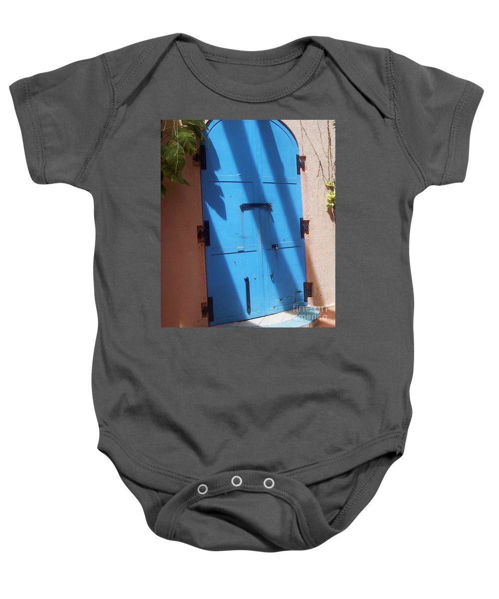 Architecture Baby Onesie featuring the photograph The Blue Door by Debbi Granruth