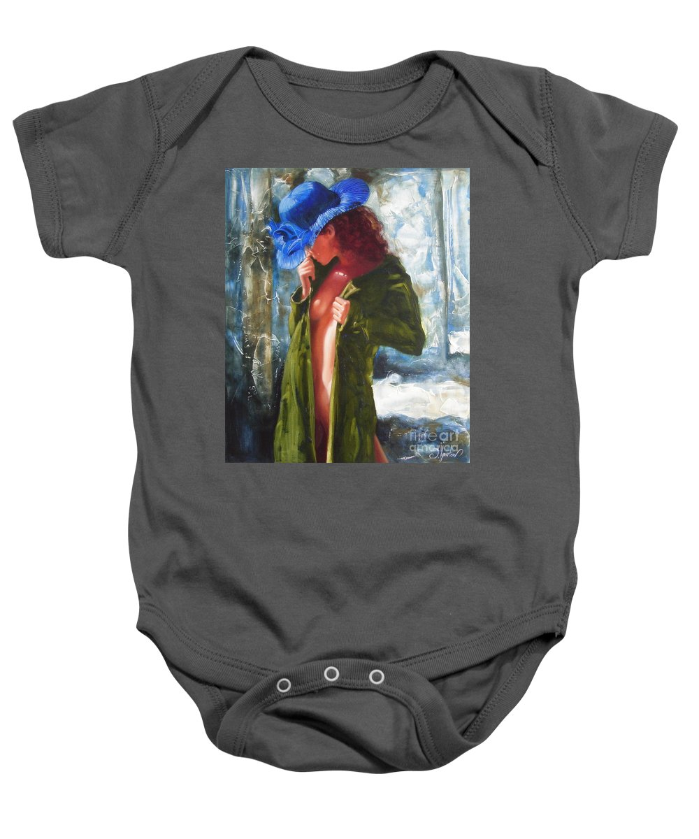Art Baby Onesie featuring the painting The Blue Hat by Sergey Ignatenko