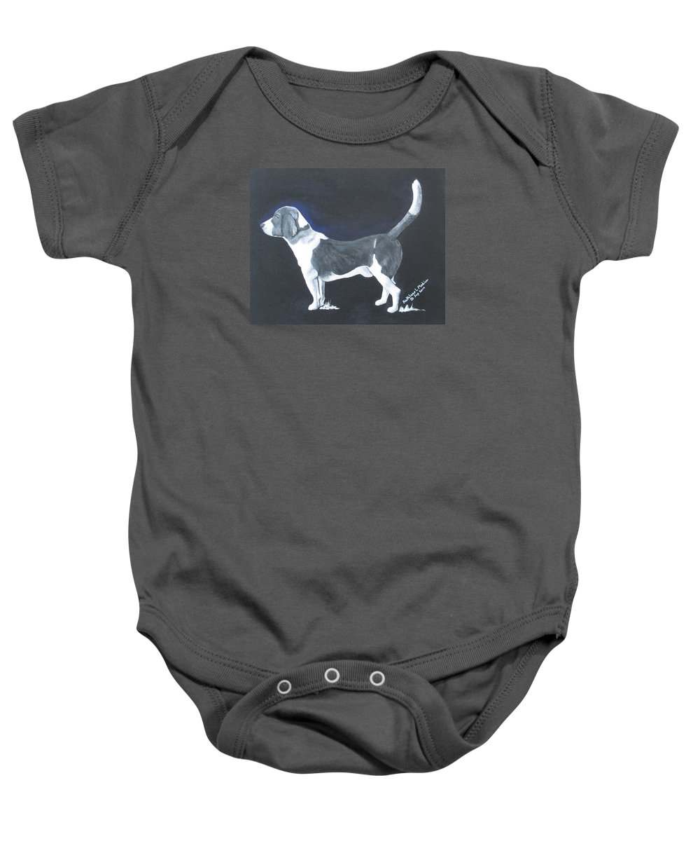 Beagle Art Baby Onesie featuring the painting The Blue Knight by KLM Kathel