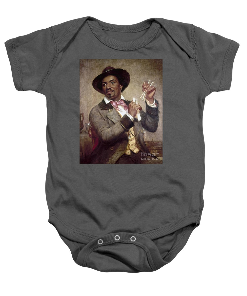 1856 Baby Onesie featuring the photograph The Bone Player, 1856 by Granger