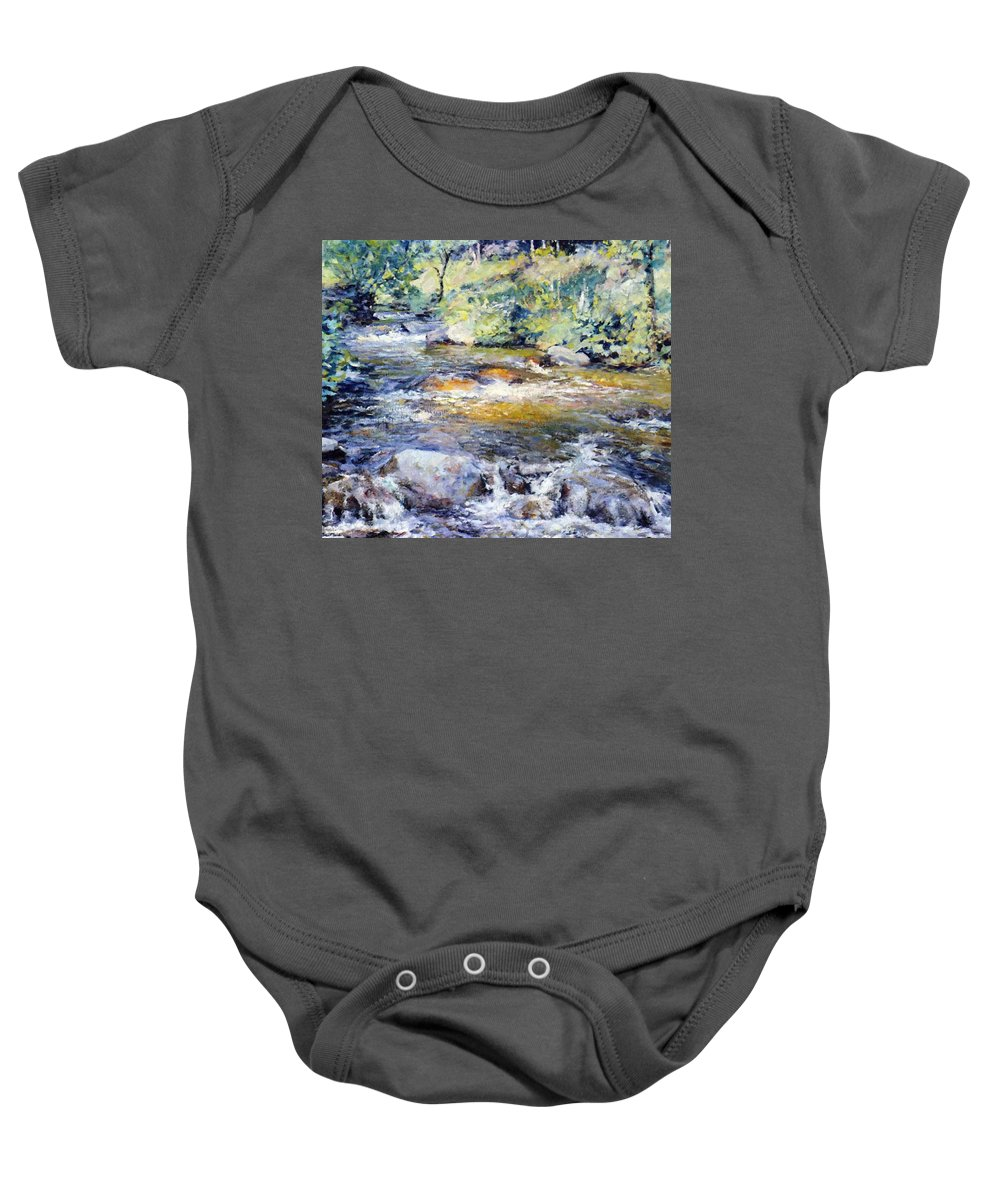 The Baby Onesie featuring the painting The Brook by Reid Robert Lewis