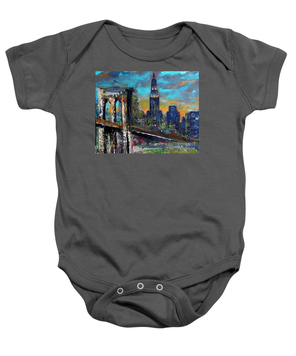 Bridges Baby Onesie featuring the painting The Brooklyn Bridge by Frances Marino