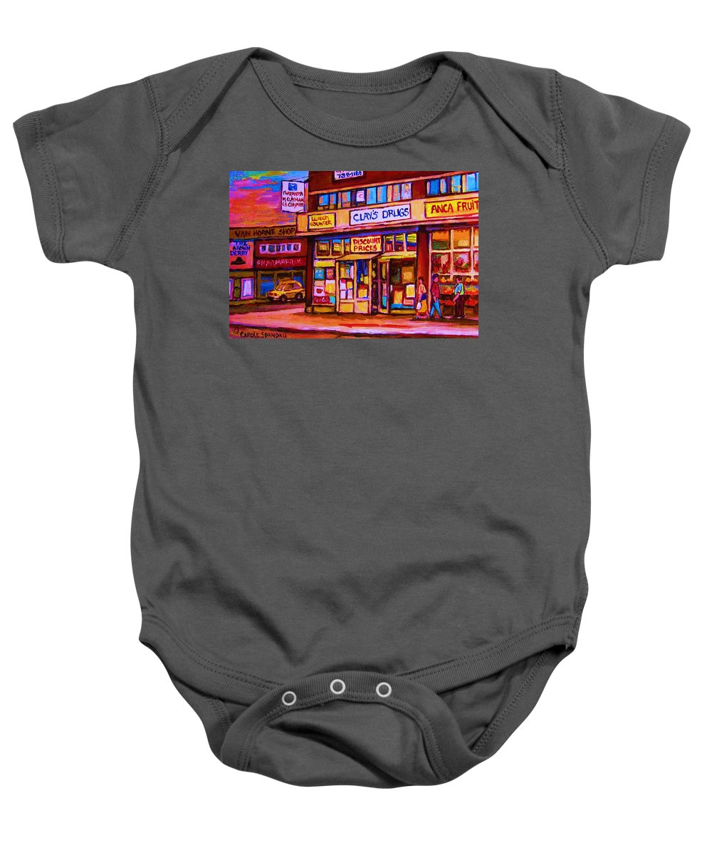 Montreal Baby Onesie featuring the painting The Brown Derby by Carole Spandau