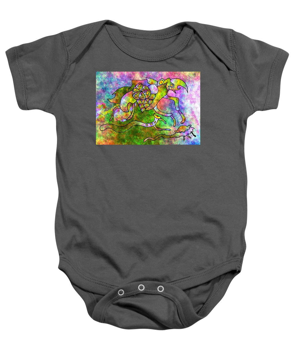 Bugs Color Texture Abstract Fun Baby Onesie featuring the digital art The Bugs by Veronica Jackson