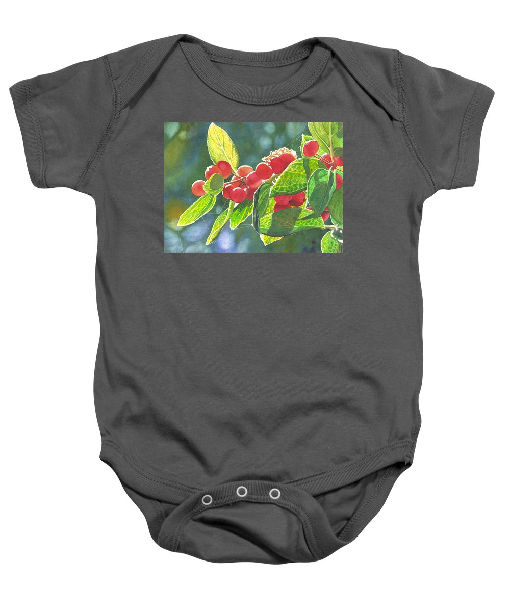 Berries Baby Onesie featuring the painting The Bush With The Red Berries by Catherine G McElroy