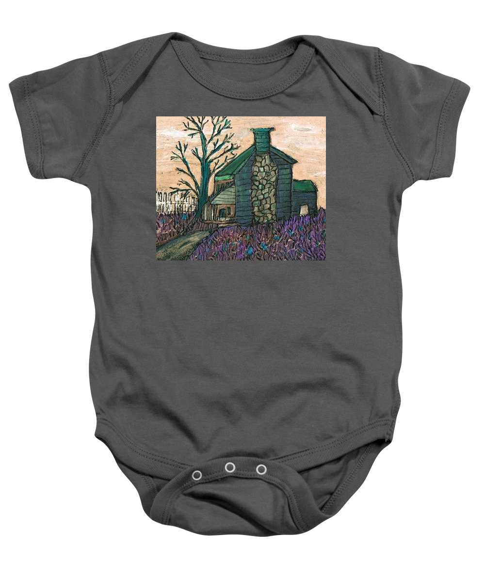 Cabin Baby Onesie featuring the painting The Cabin 2 by Wayne Potrafka
