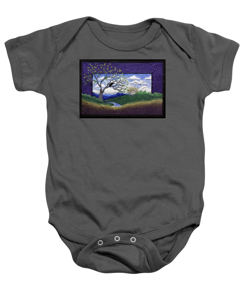 Landscape Baby Onesie featuring the tapestry - textile The Call by Dottie Moore