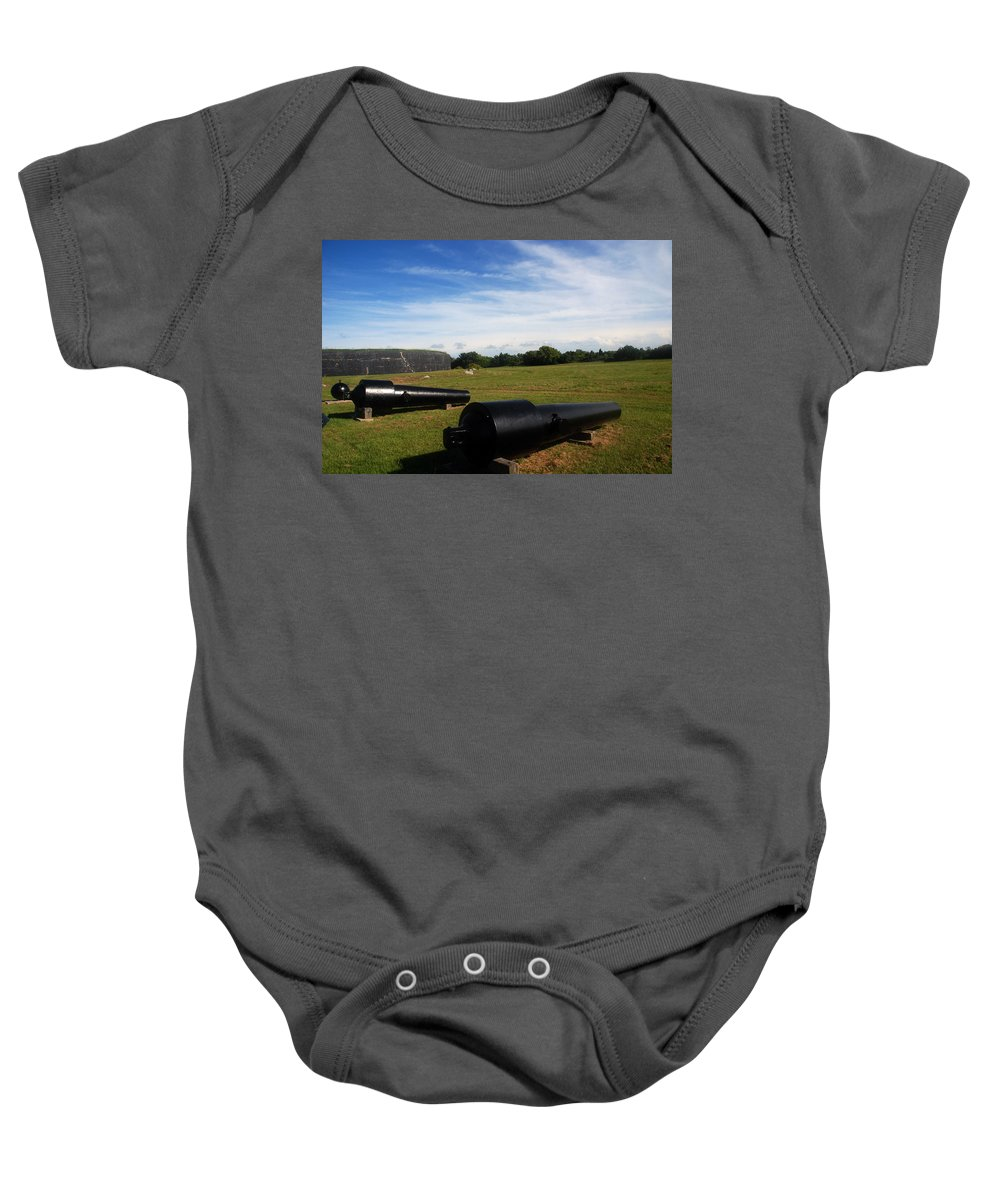 Photography Baby Onesie featuring the photograph The Cannons At Fort Moultrie In Charleston by Susanne Van Hulst