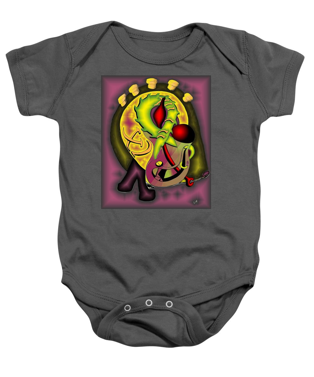 'the Clock Ii' Baby Onesie featuring the digital art The Clock II by Helmut Rottler