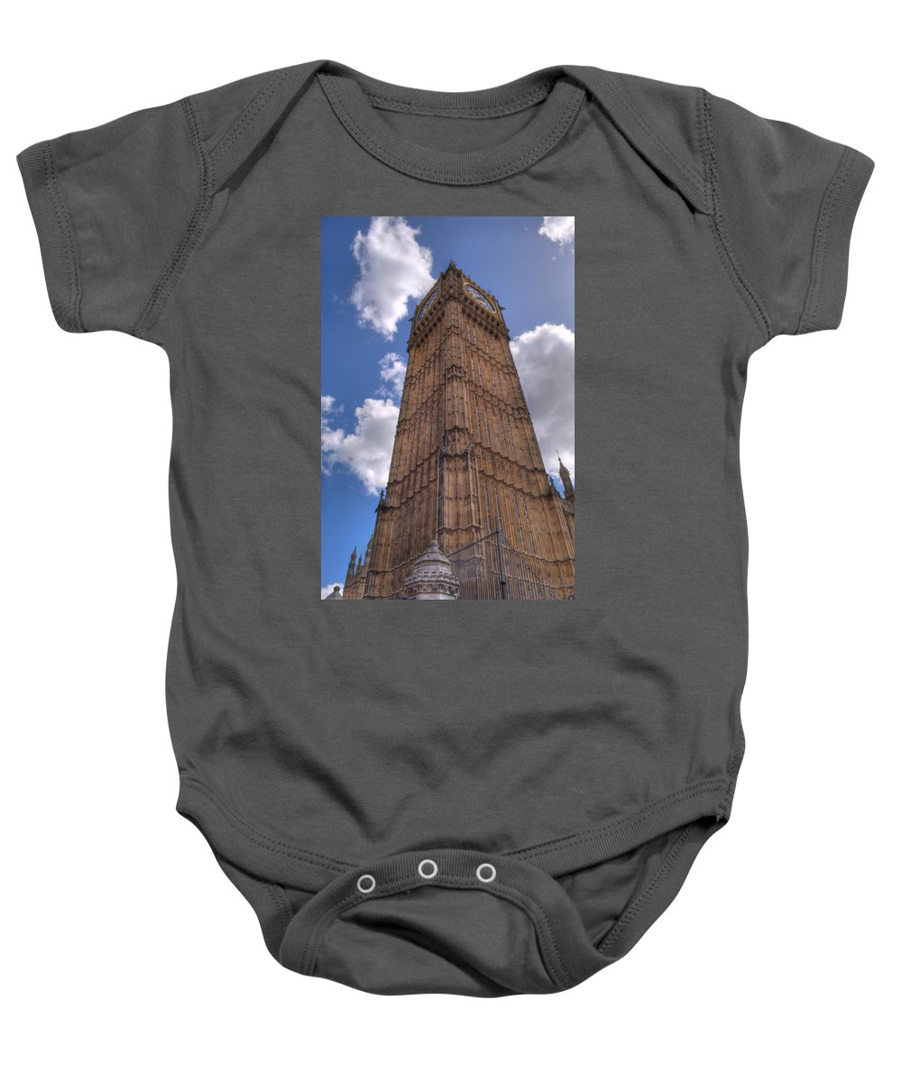 Big Ben Baby Onesie featuring the photograph The Clock Tower by Chris Day