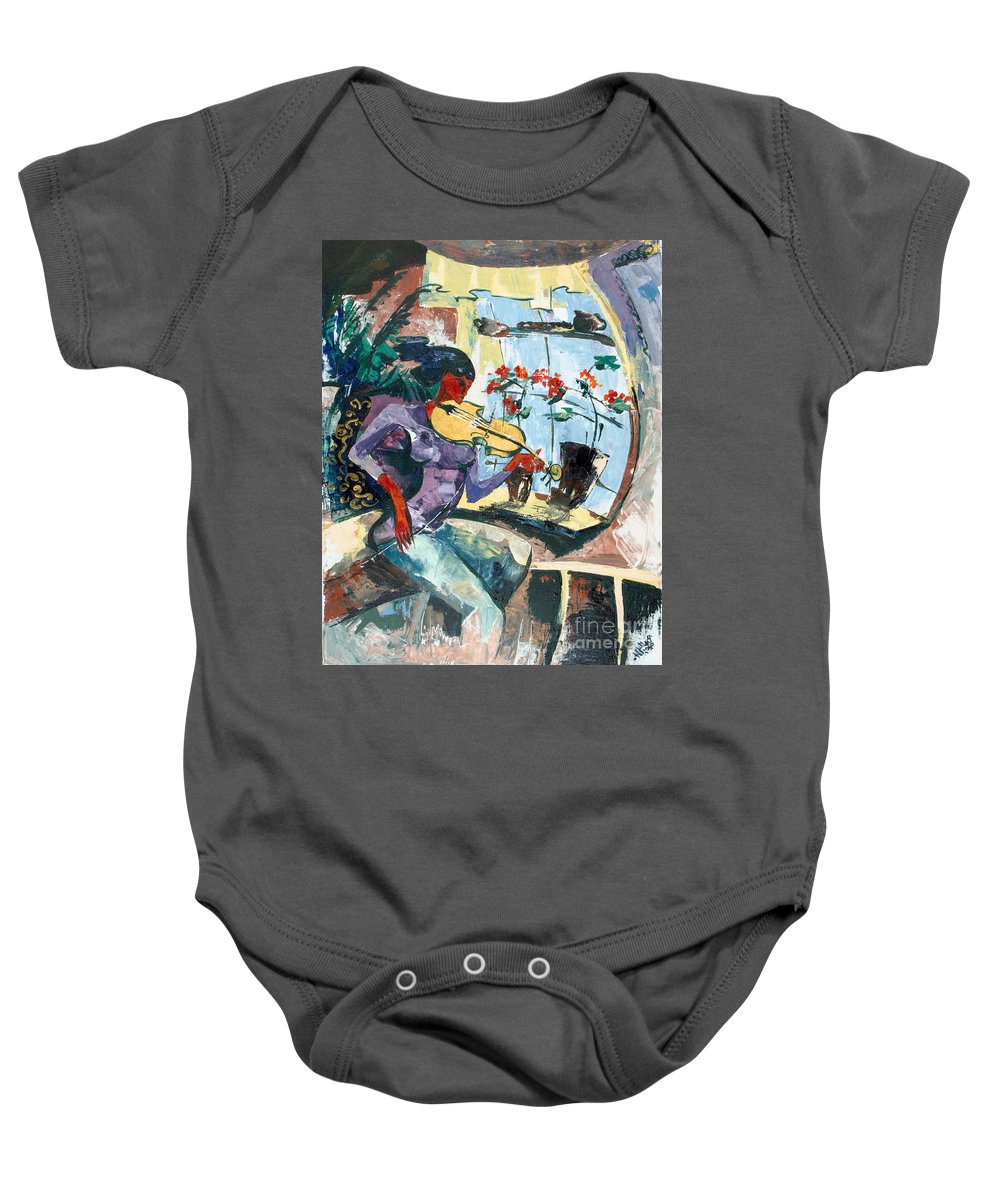 Music Baby Onesie featuring the painting The Color Of Music by Elisabeta Hermann