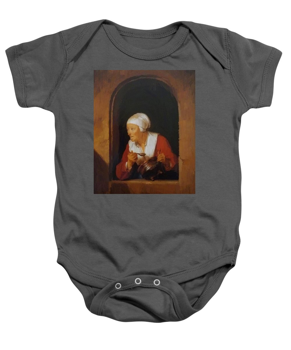 The Baby Onesie featuring the painting The Cook 1665 by Dou Gerrit