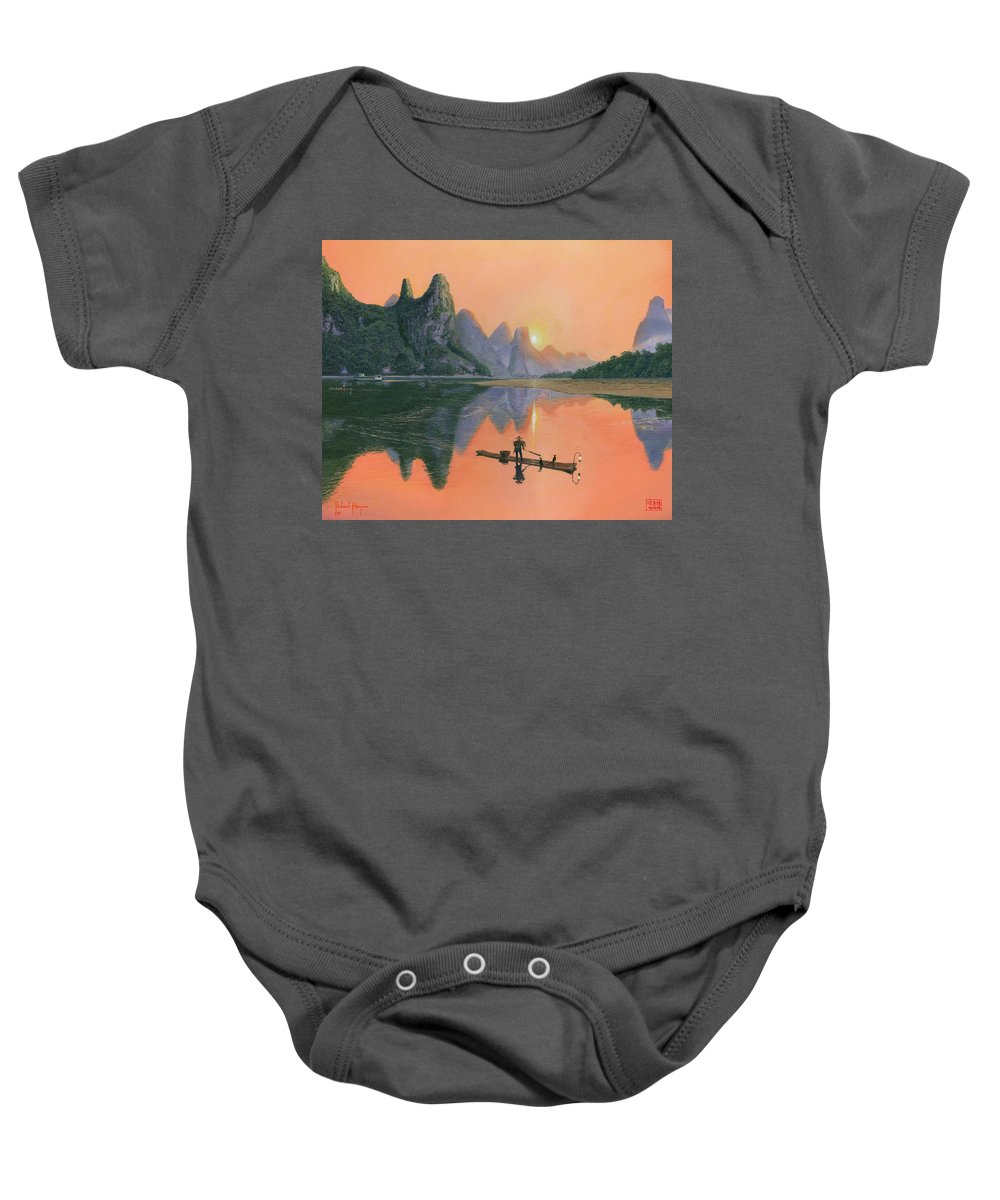 Painting For Sale Baby Onesie featuring the painting The Cormorant Fisherman Li River Guilin China by Richard Harpum