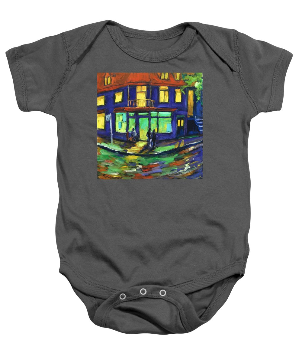 Town Baby Onesie featuring the painting The Corner Store by Richard T Pranke