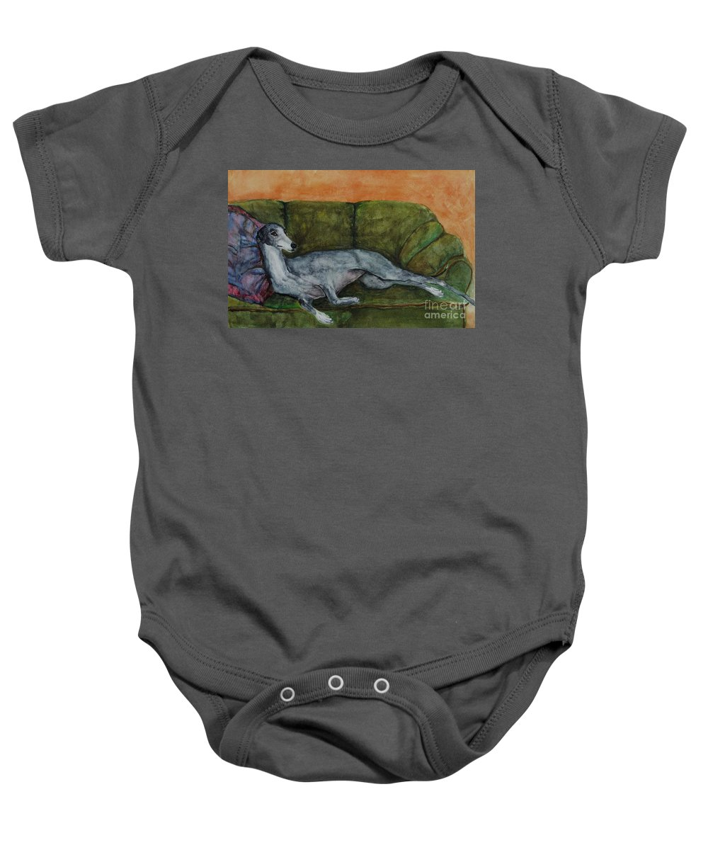Greyhounds Baby Onesie featuring the painting The Couch Potatoe by Frances Marino