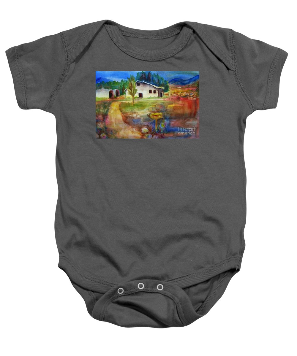 Country Barn Baby Onesie featuring the painting The Country Barn by Frances Marino