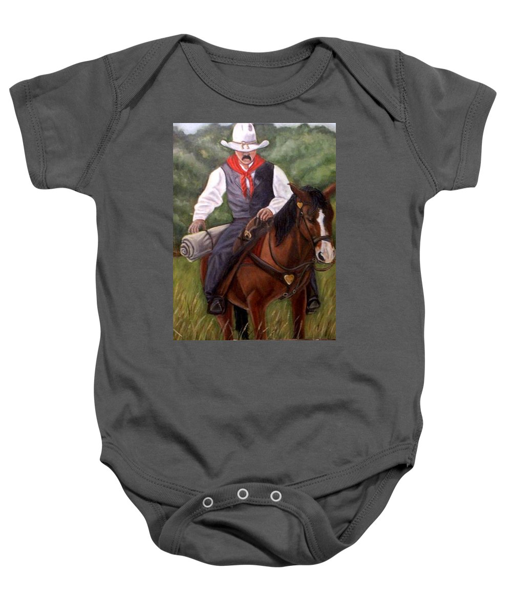 Portrait Baby Onesie featuring the painting The Cowboy by Toni Berry