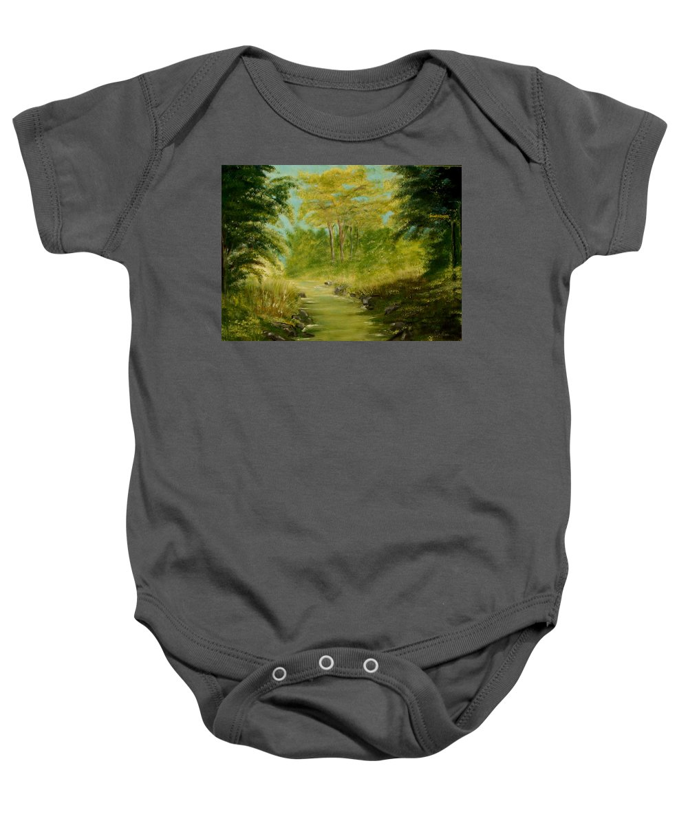 Water River Creek Nature Trees Landscape Baby Onesie featuring the painting The Creek by Veronica Jackson