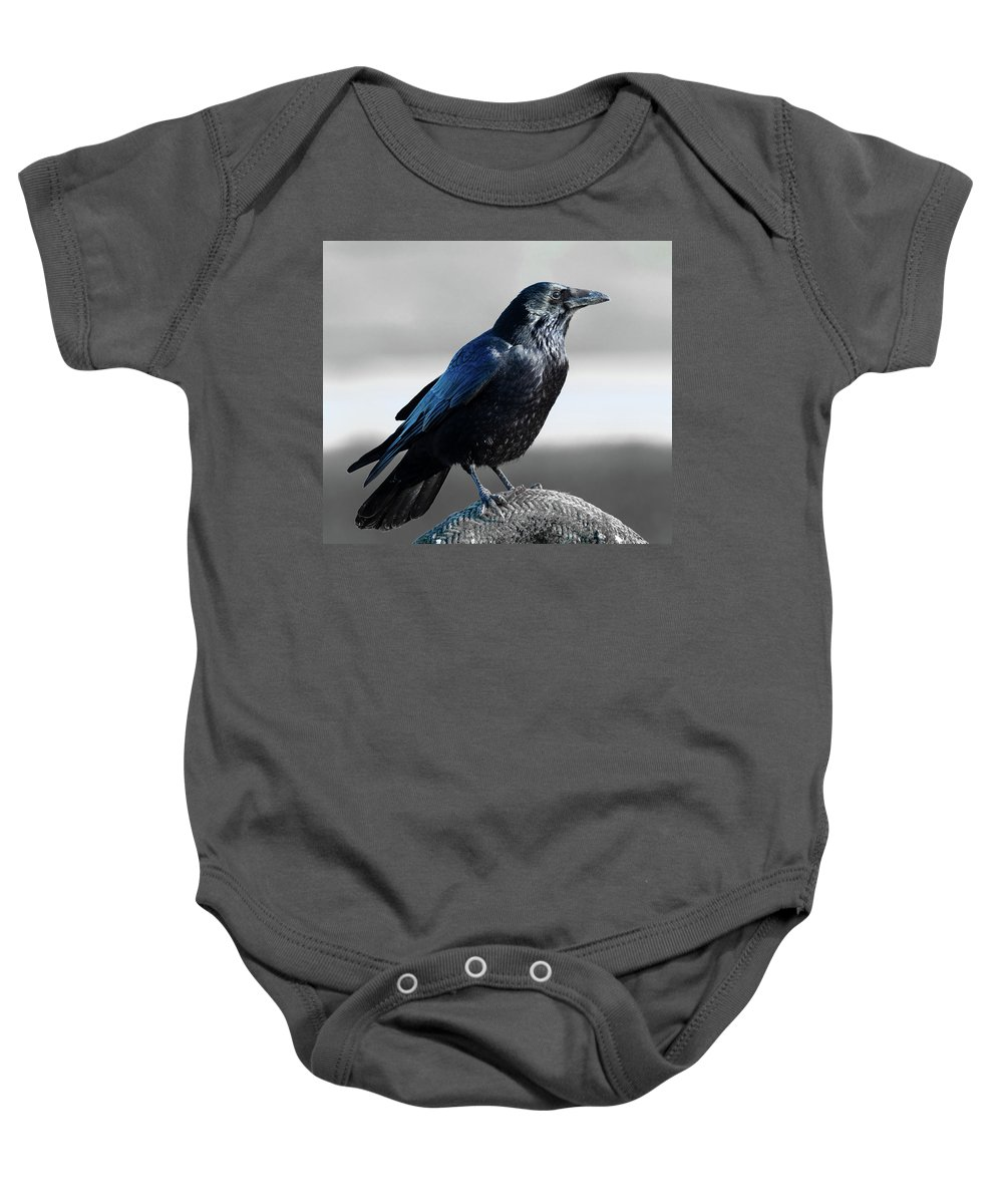 Bird Baby Onesie featuring the photograph The Crow by Colin Allen