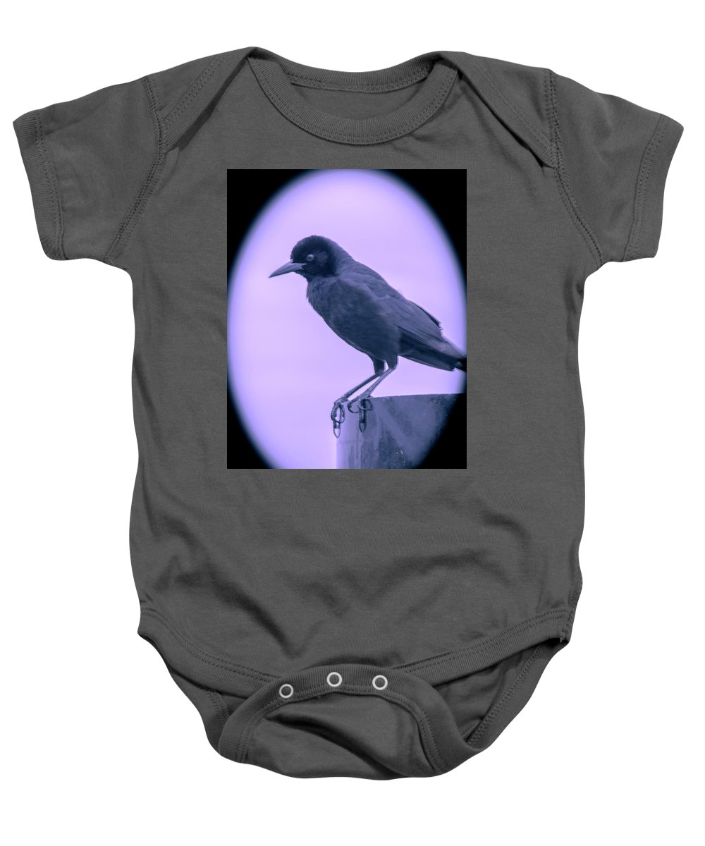 Crow Baby Onesie featuring the photograph The Crow by Michael Frizzell