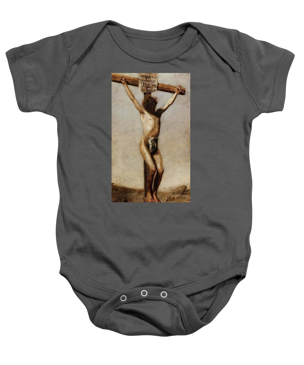 The Baby Onesie featuring the painting The Crucifixion 1880 by Eakins Thomas