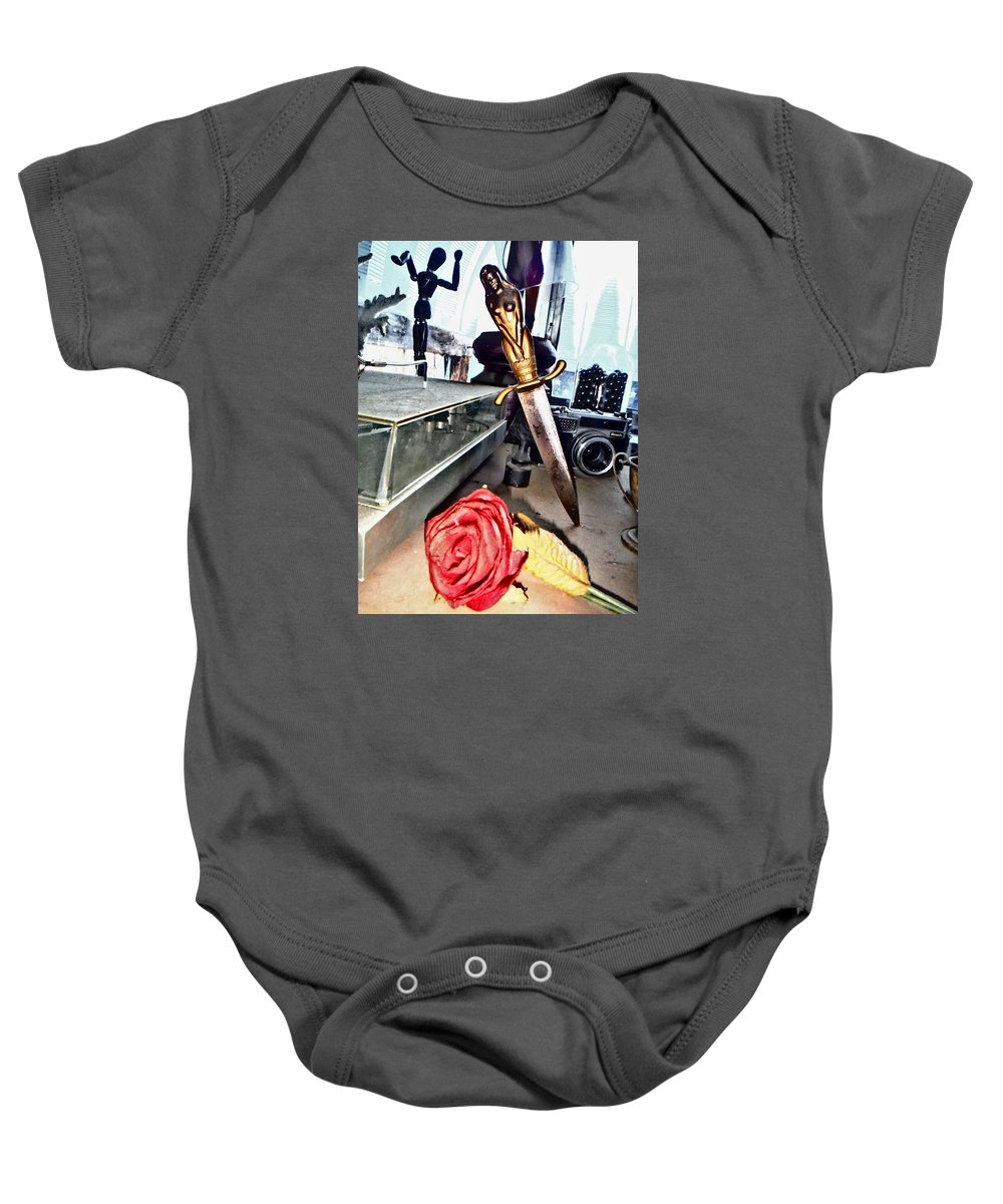 Dagger Baby Onesie featuring the photograph The Dagger And The Rose by John Smolinski