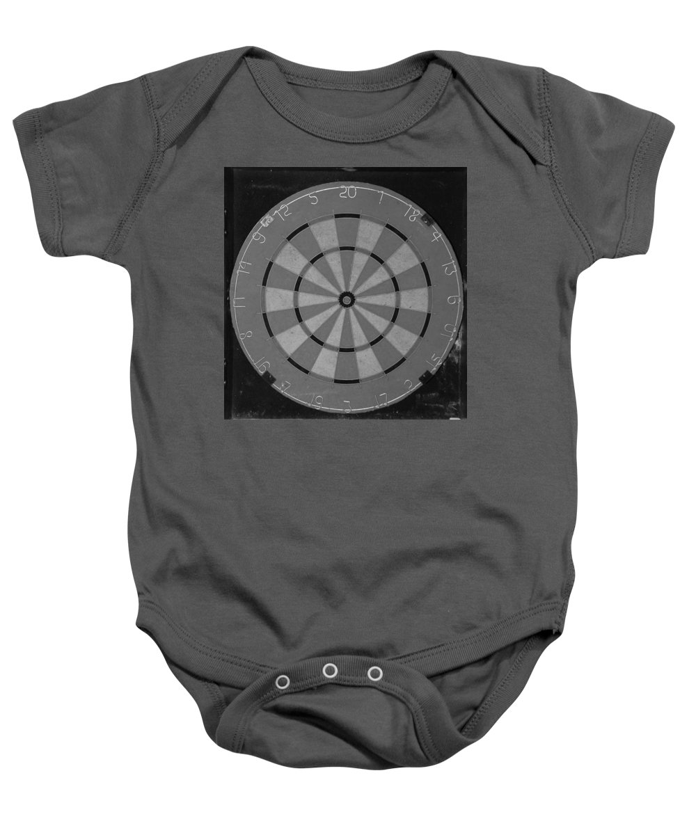 Macro Baby Onesie featuring the photograph The Dart Board In Black And White by Rob Hans