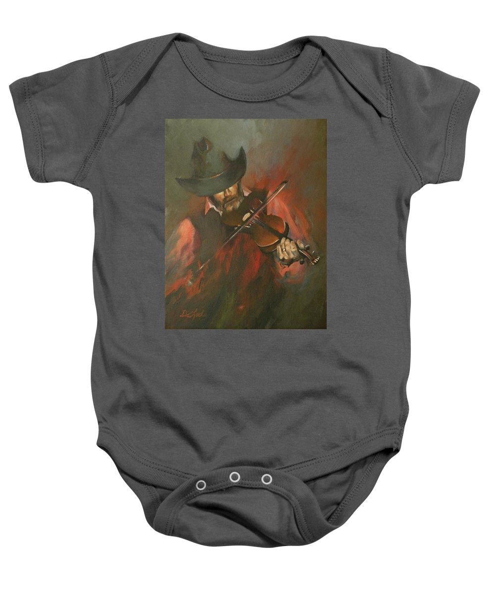 Cowboys Baby Onesie featuring the painting The Devil Went Down To Georgia by Mia DeLode
