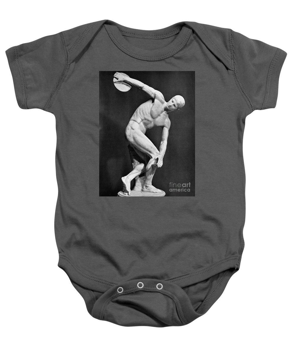 140's Baby Onesie featuring the photograph The Discobolus, 450.b.c by Granger