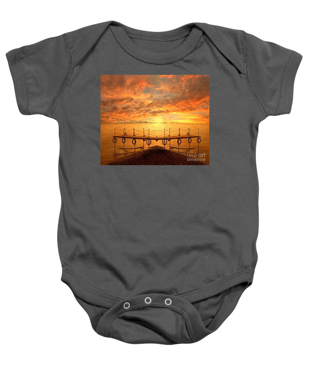 Waterscape Baby Onesie featuring the photograph The Dock by Jacky Gerritsen