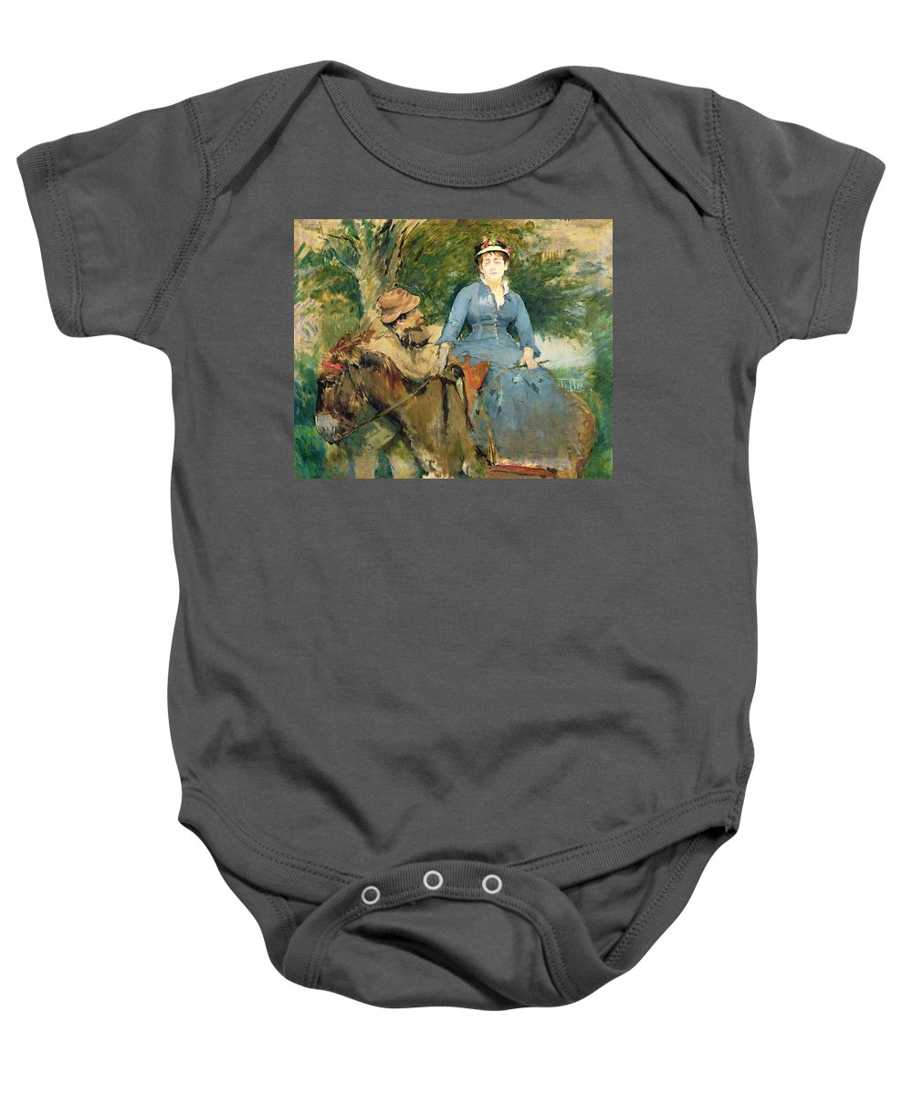 The Baby Onesie featuring the painting The Donkey Ride by Eva Gonzales