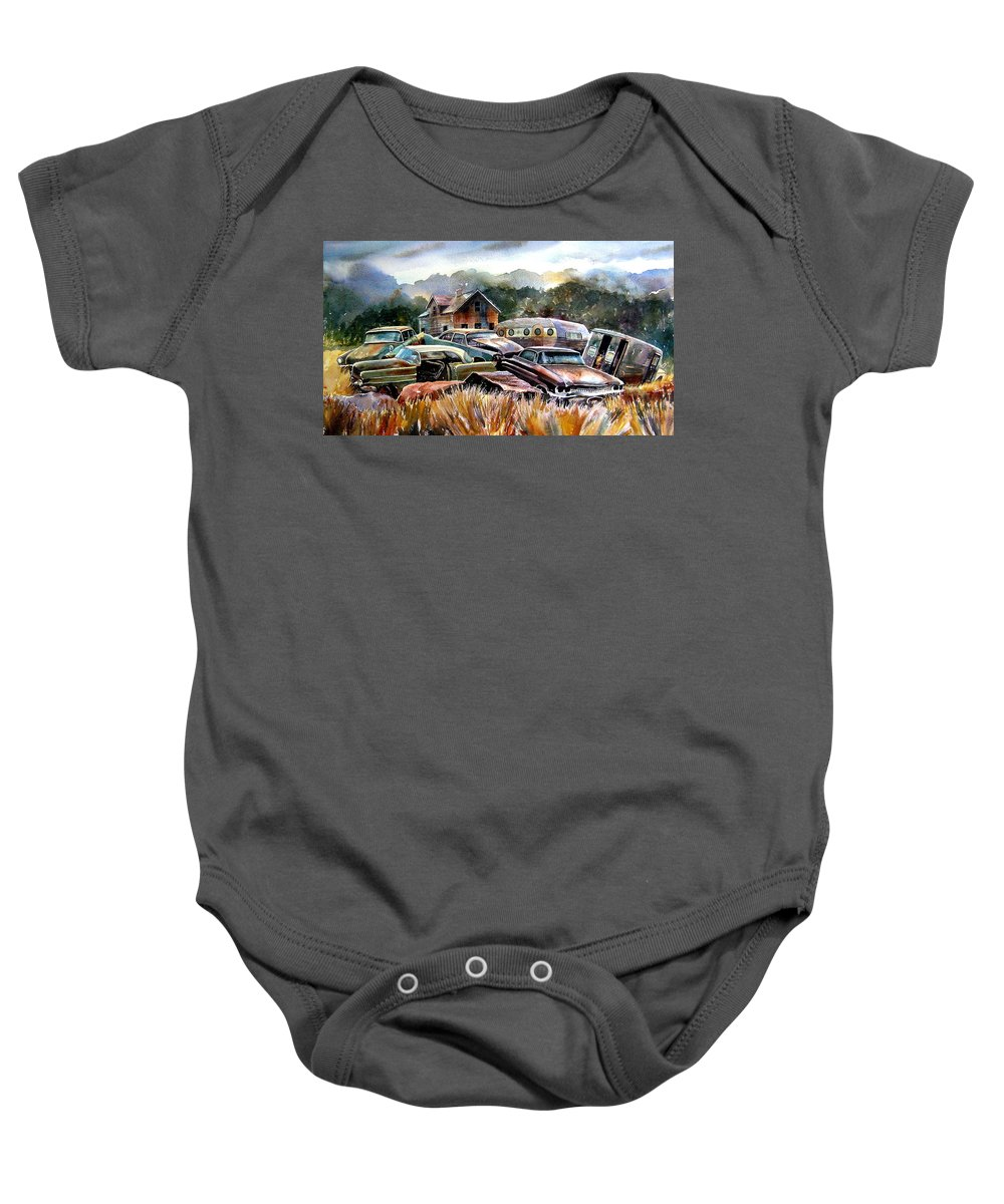Old Wrecked Cars Baby Onesie featuring the painting The Donor Cars by Ron Morrison