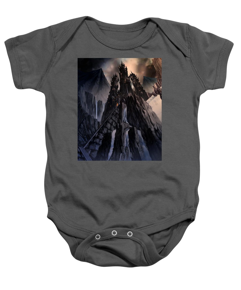 Architectural Baby Onesie featuring the mixed media The Dragon Gate by Curtiss Shaffer
