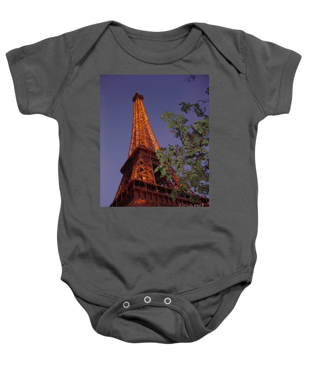 Tower Baby Onesie featuring the photograph The Eiffel Tower Aglow by Nadine Rippelmeyer