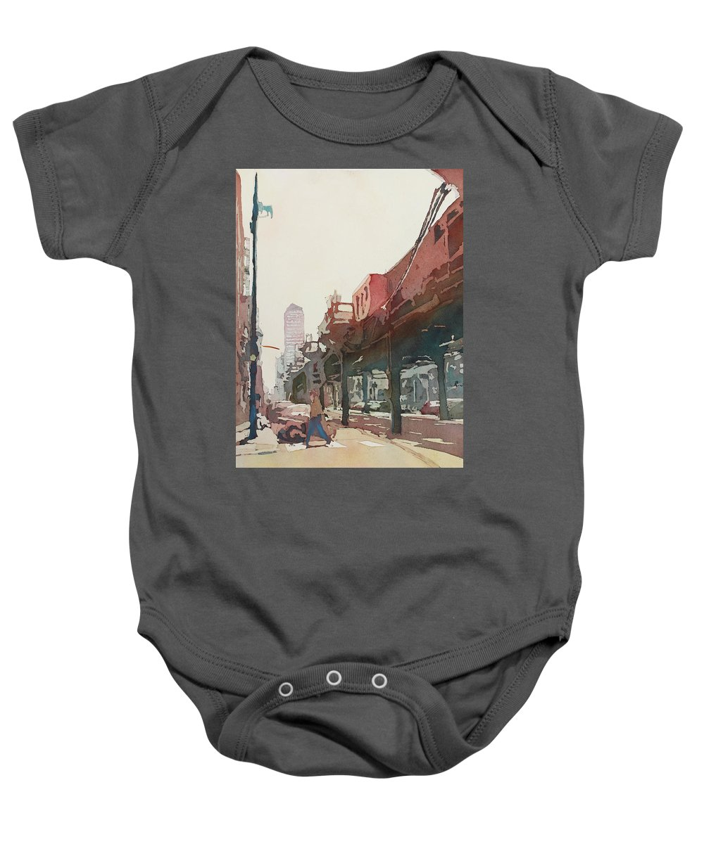 Downtown Baby Onesie featuring the painting The El by Jenny Armitage