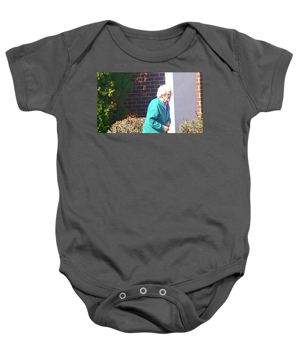 Abstract Baby Onesie featuring the photograph The Elderly Woman by Lenore Senior