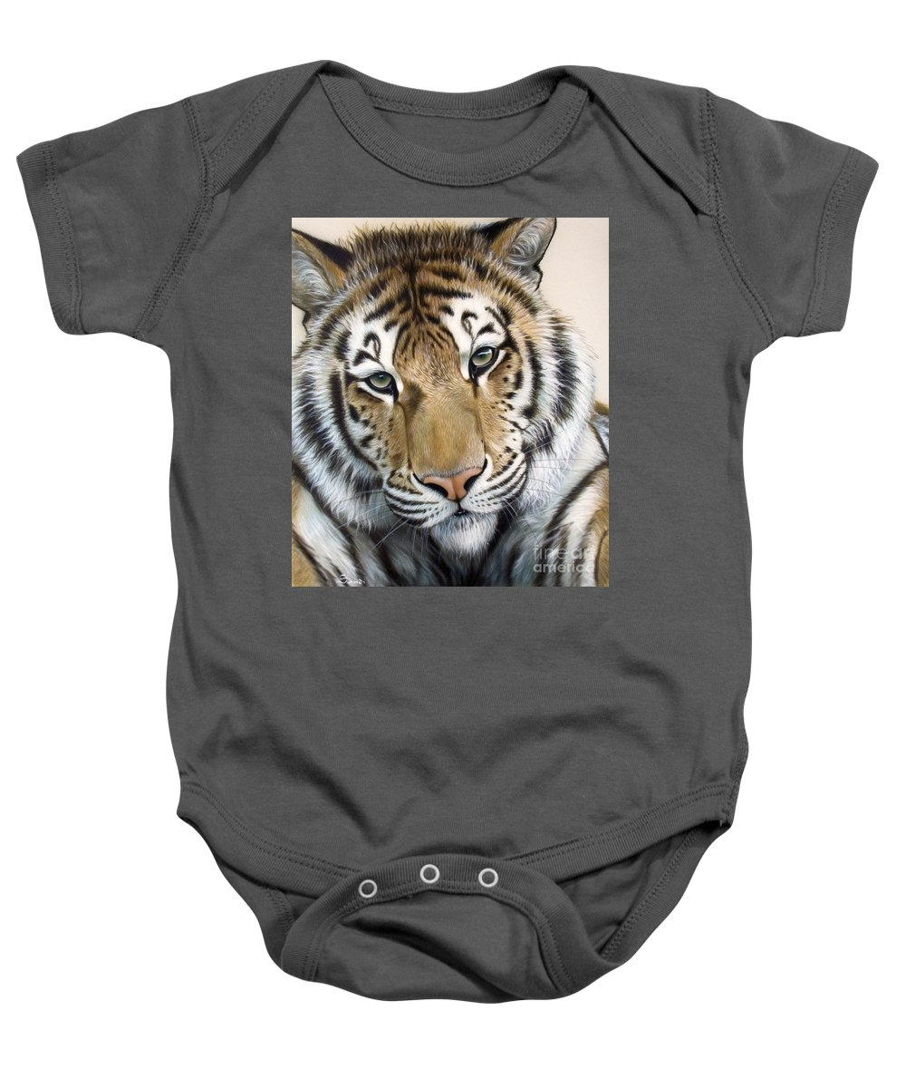 Acrylic Baby Onesie featuring the painting The Embrace by Sandi Baker