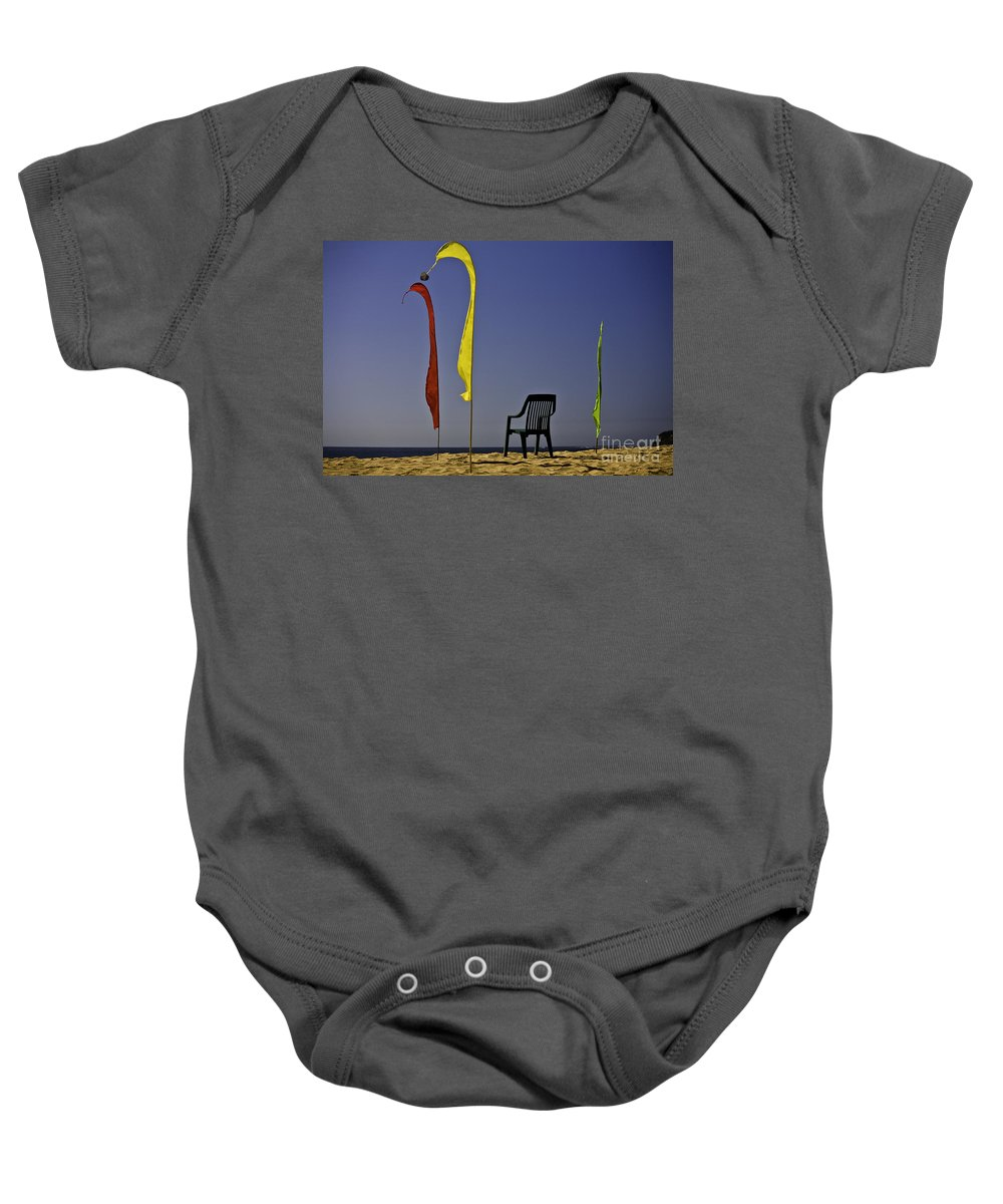 Beach Baby Onesie featuring the photograph The Empty Chair by Sheila Smart Fine Art Photography