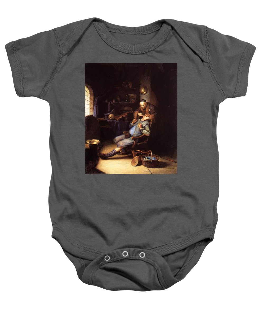 The Baby Onesie featuring the painting The Extraction Of Tooth 1635 by Dou Gerrit