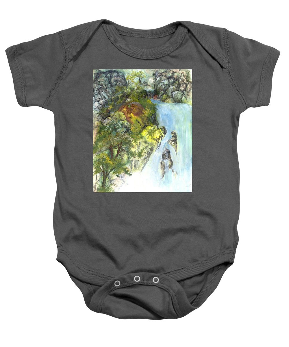 Waterfall Baby Onesie featuring the painting The Falls by Sherry Shipley