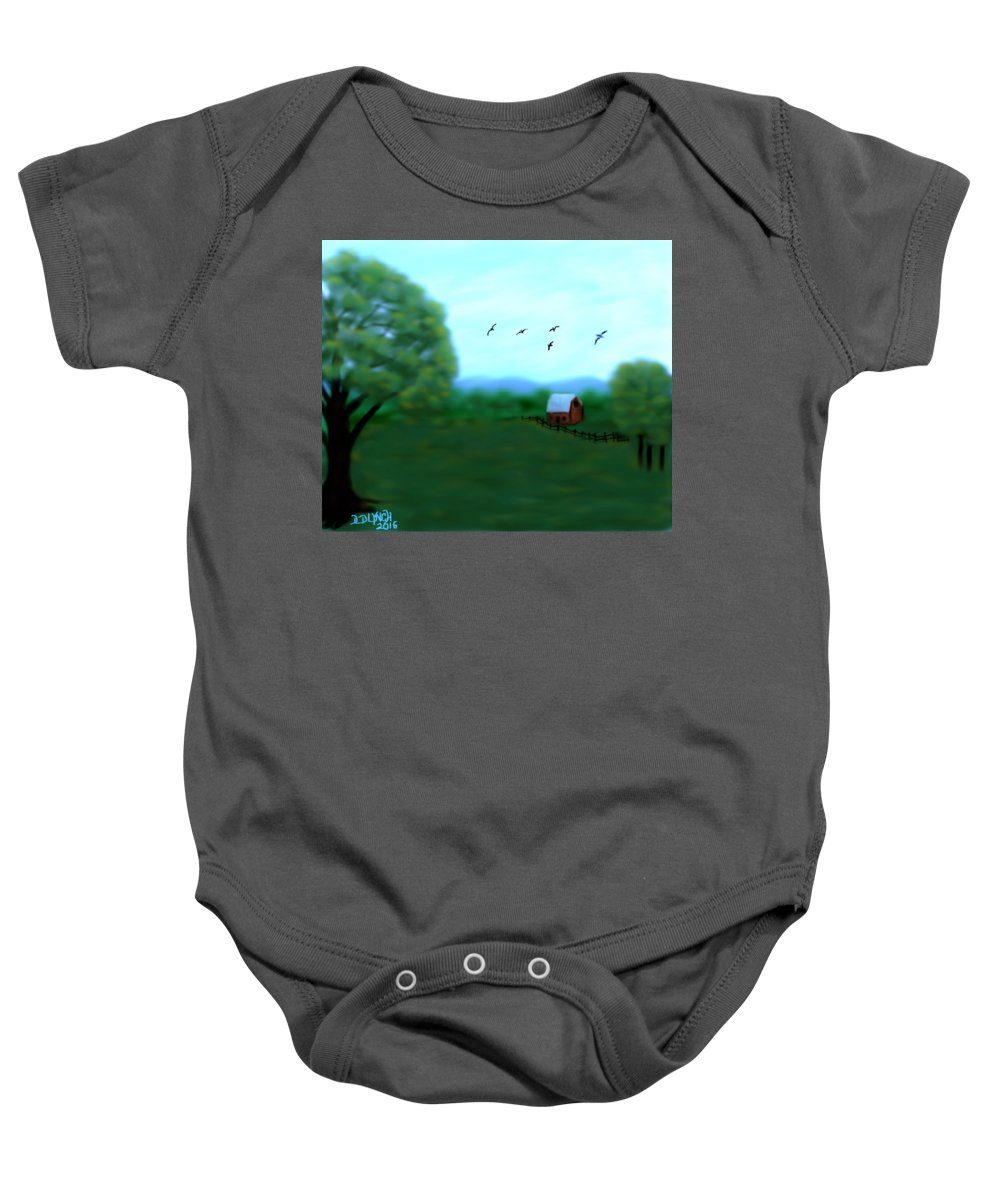Red Baby Onesie featuring the digital art The Farm Below The Mountains by Debra Lynch
