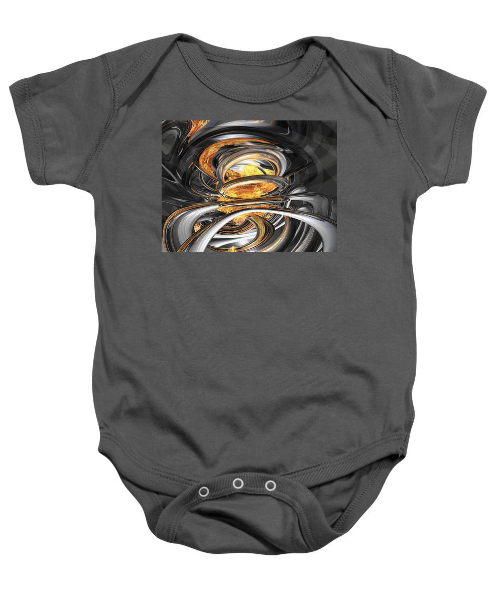 3d Baby Onesie featuring the digital art The Fire Within Abstract by Alexander Butler
