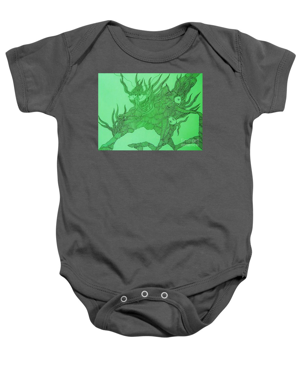 Fish Tank Baby Onesie featuring the drawing The Fish Tank by Reb Frost